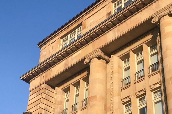 Detail-Aufnahme vom Bank Palais am Tröndlingring